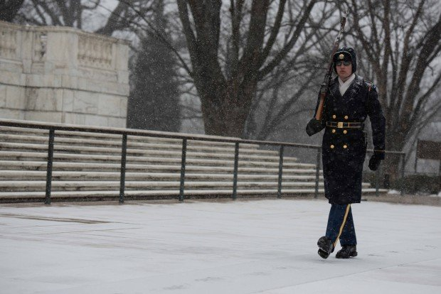 "Winter Storm Jonas at the Tomb of the Unknown Soldier (Credit: 3d U.S. Infantry Regiment ""The Old Guard""/Flickr)"