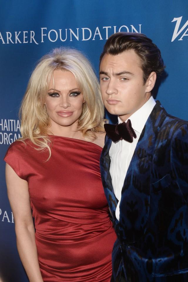 Pamela Anderson and her son Brandon. (Photo: Matt Winkelmeyer/Getty Images)