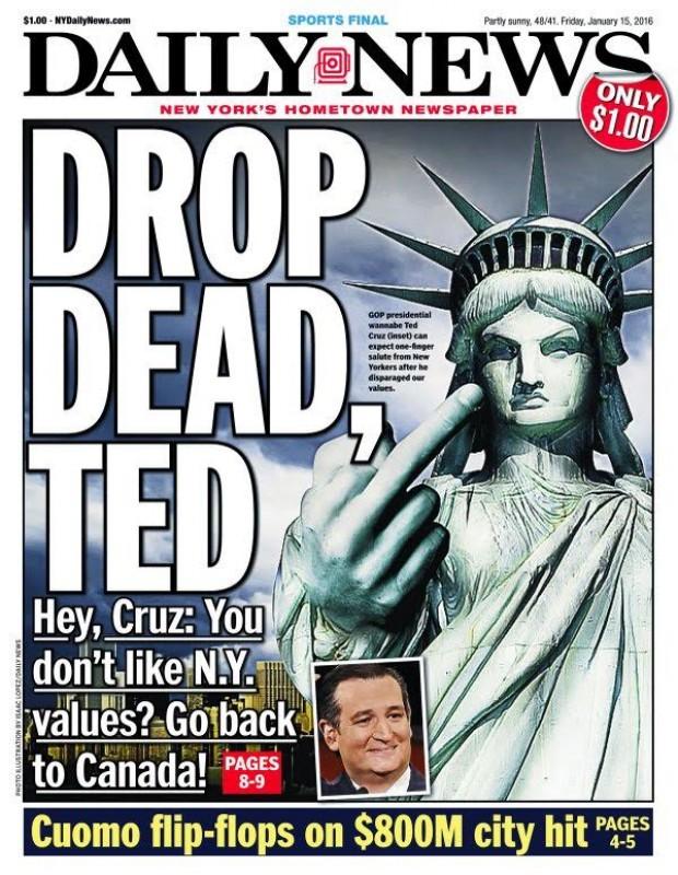 NY Daily News 'Drop Dead, Ted'