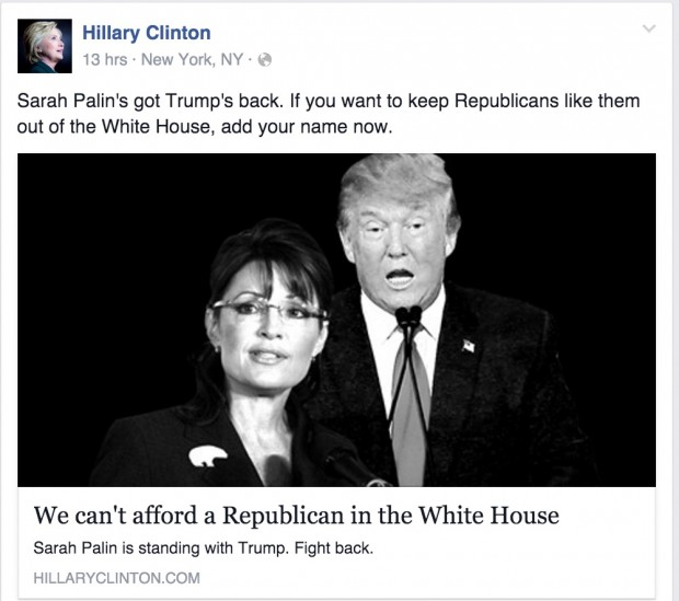 Screen shot Hillary Clinton Facebook 1-20-2016