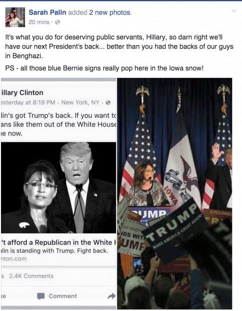 Screen shot Sarah Palin Facebook 1-20-2016