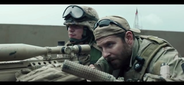 "Bradley Cooper staring as Chris Kyle in ""American Sniper."" (Credit: Screenshot/Youtube Movieclips Trailers)"