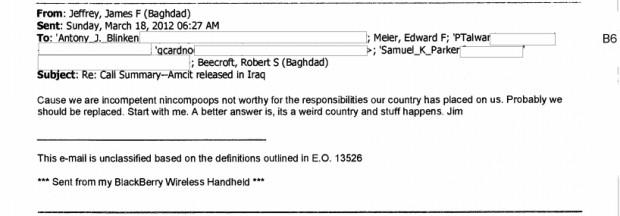 James Jeffrey Hostage Email