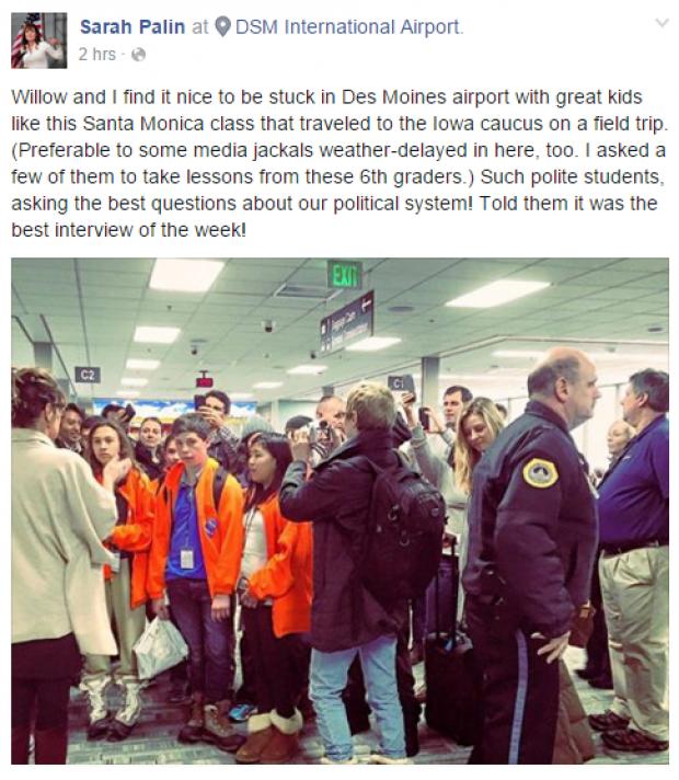 Sarah Palin Facebook Screenshot