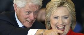 Democratic U.S. presidential candidate Hillary Clinton and former President Bill Clinton. (REUTERS/Adrees)
