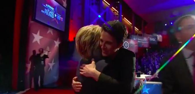 Rachel Maddow hugs Hillary Clinton after MSNBC debate: Screen capture