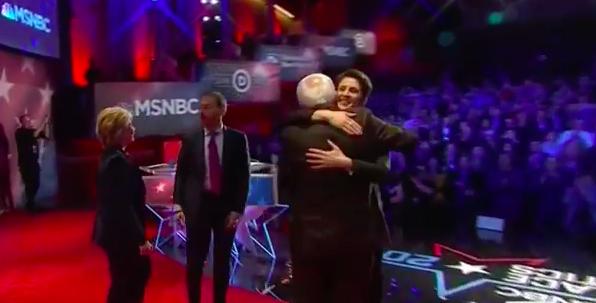 Rachel Maddow hugs Bernie Sanders after MSNBC debate: Screen capture
