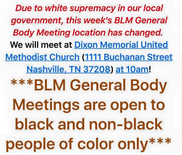 Black Lives Matter Nashville FaceBook Posting