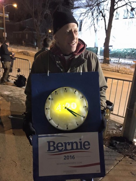 Pro-Bernie sign outside the DNC Debate in Milwaukee, WI on Feb. 11, 2016 (Philip DeVoe)