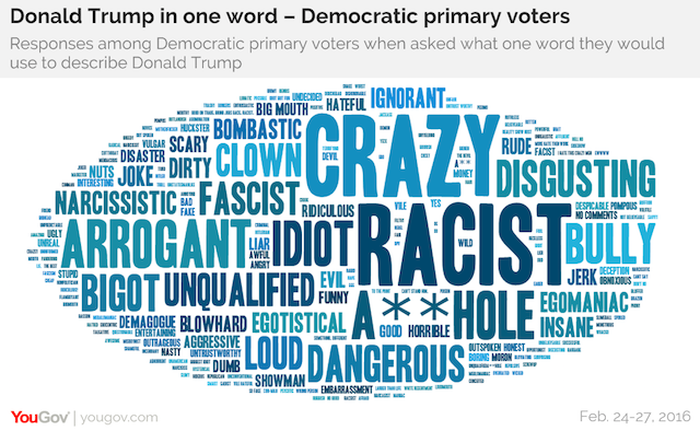 Donald Trump in one word - Democratic primary voters