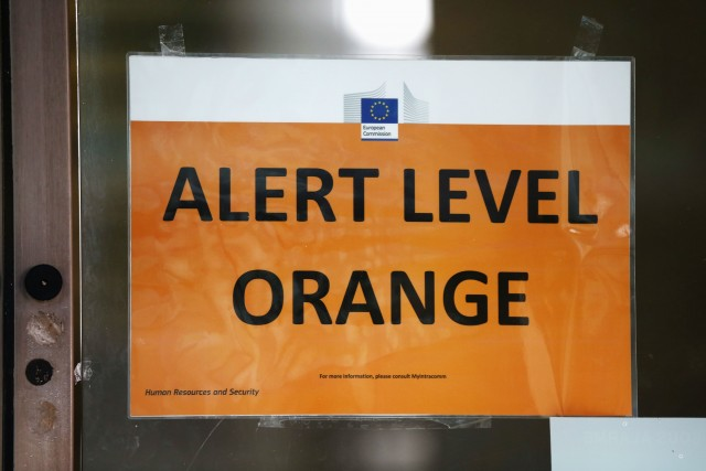 Alert Level Orange sign is seen on an EU Commission building following today's attack on March 22, 2016 in Brussels. (Photo: Getty Images)