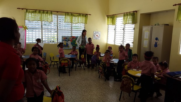 Kindergarten students at the Cigar Family Foundation School in Bonao, Dominican Republic