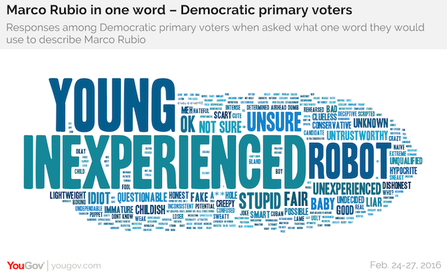 Marco Rubio in one word - Democratic primary voters