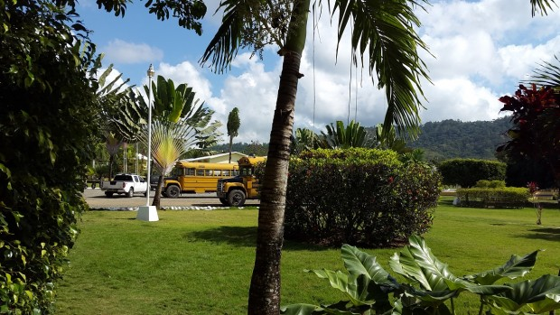 School Buses in front of the Cigar Family Foundation School in Bonao, Dominican Republic