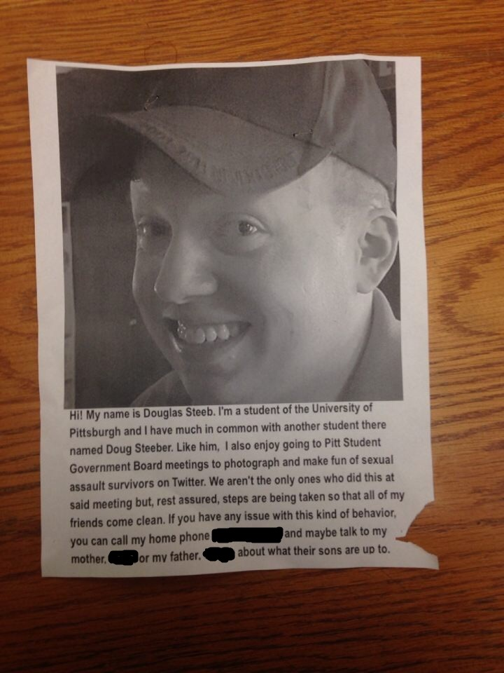 The flier targeting 'Doug Steeb' at Pitt. [Doug Steeber]