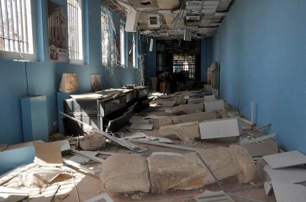 A view shows damaged artefacts inside the museum of the historic city of Palmyra, after forces loyal to Syria's President Bashar al-Assad recaptured the city, in Homs Governorate in this handout picture provided by SANA on March 27, 2016. REUTERS/SANA/Handout via Reuters ATTENTION EDITORS - THIS PICTURE WAS PROVIDED BY A THIRD PARTY. REUTERS IS UNABLE TO INDEPENDENTLY VERIFY THE AUTHENTICITY, CONTENT, LOCATION OR DATE OF THIS IMAGE. FOR EDITORIAL USE ONLY. NOT FOR SALE FOR MARKETING OR ADVERTISING CAMPAIGNS. THIS PICTURE IS DISTRIBUTED EXACTLY AS RECEIVED BY REUTERS, AS A SERVICE TO CLIENTS - RTSCH2A