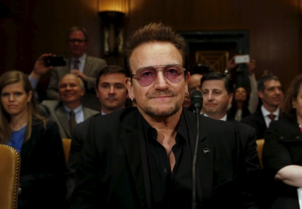 U2 lead singer Bono attends a Senate Appropriations State, Foreign Operations and Related Programs Subcommittee hearing on 'causes and consequences of violent extremism and the role of foreign assistance' on Capitol Hill in Washington April 12, 2016. REUTERS/Yuri Gripas