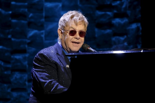 "Singer Elton John performs at the Hillary Victory Fund ""I'm With Her"" benefit concert for U.S. Democratic presidential candidate Hillary Clinton at Radio City Music Hall in the Manhattan borough of New York City, March 2, 2016. REUTERS/Mike Segar"