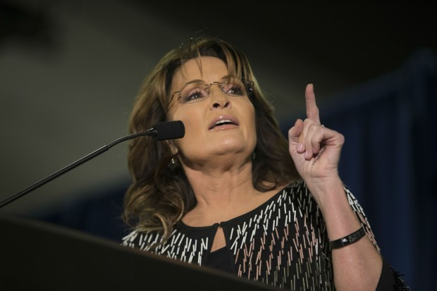 Former Alaska Gov. Sarah Palin speaks at Hansen Agriculture Student Learning Center at Iowa State University on January 19, 2016 in Ames, Iowa