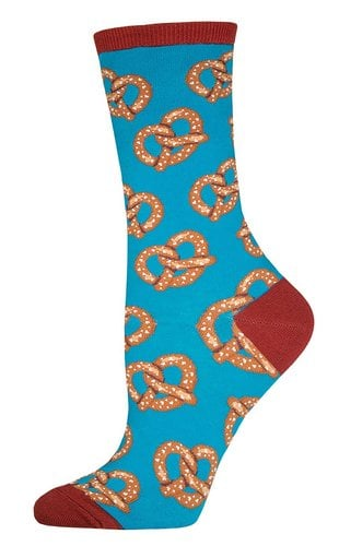 Wearing pretzel socks is the perfect way for ladies to celebrate Pretzel Day (Photo via Amazon)