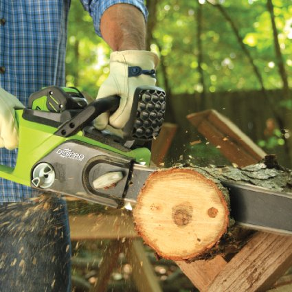 The GreenWorks cordless chainsaw is currently $45 off (Photo via Amazon)