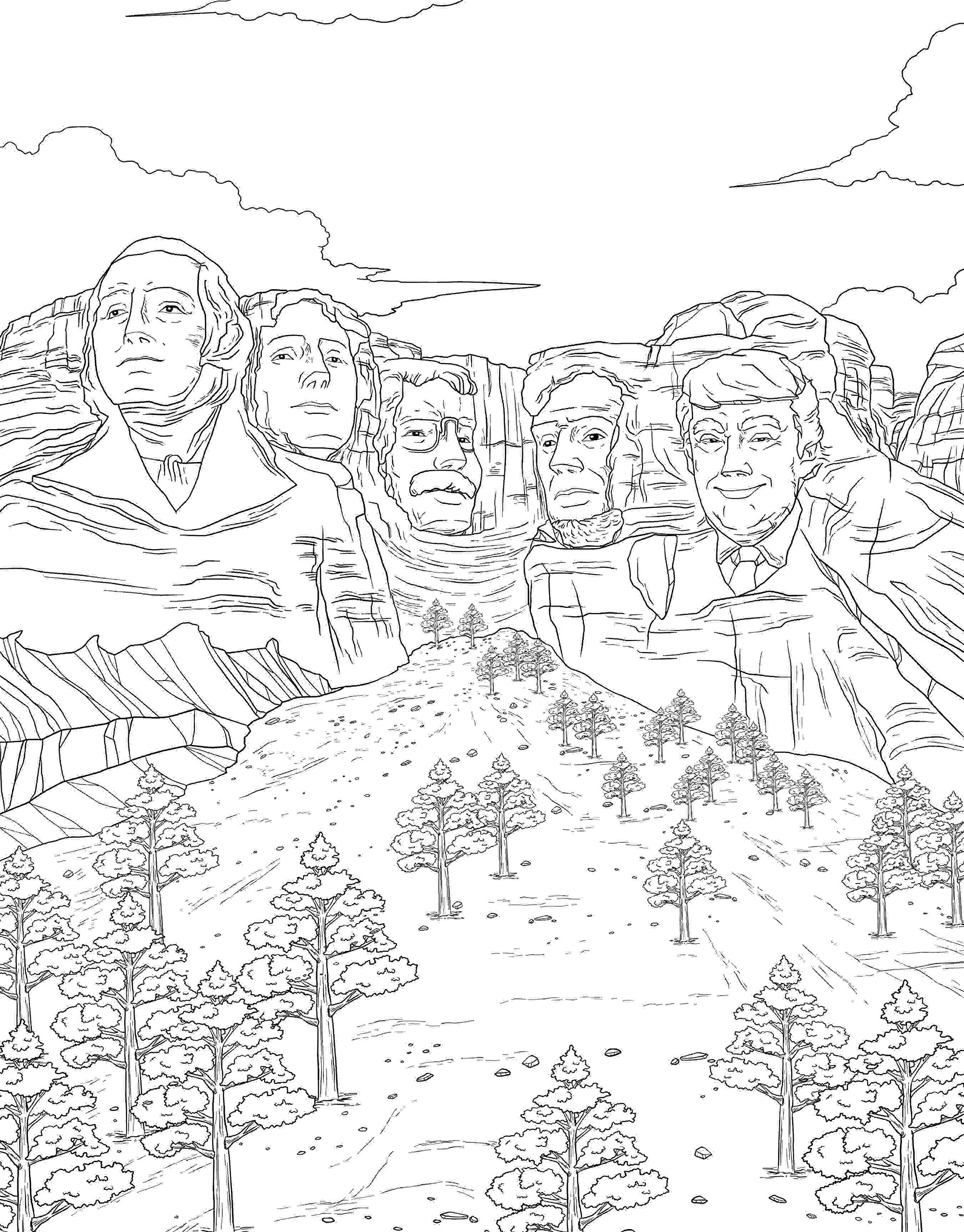 Donald Trump on Mt. Rushmore is only one of the 50 drawings in this coloring book (Photo via Amazon)