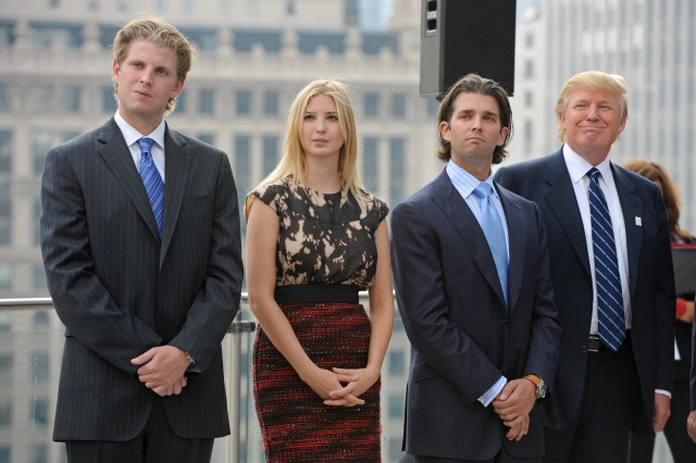 Eric, Ivanka, and Donald Jr. Trump attend a press conference at the Trump International Hotel and Tower in Chicago. (Photo: Amanda Rivkin/AFP/Getty Images)
