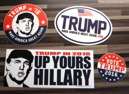 This set of bumper stickers can cover your vehicles in Trump support (Photo via Amazon)