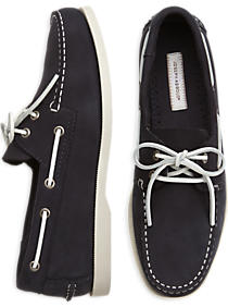 Joseph Abboud navy boat shoes are only $30 today (Photo via Men's Wearhouse)