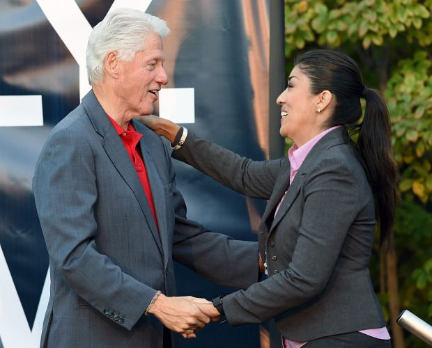 LAS VEGAS, NV - OCTOBER 28: Former U.S. President Bill Clinton (L) greets Democratic candidate for lieutenant governor and current Nevada Assemblywoman Lucy Flores (D-Las Vegas) after they spoke at a get-out-the-vote rally at the Springs Preserve on October 28, 2014 in Las Vegas, Nevada. Clinton is stumping for Nevada Democrats one week before the November 4th election. (Photo by Ethan Miller/Getty Images)