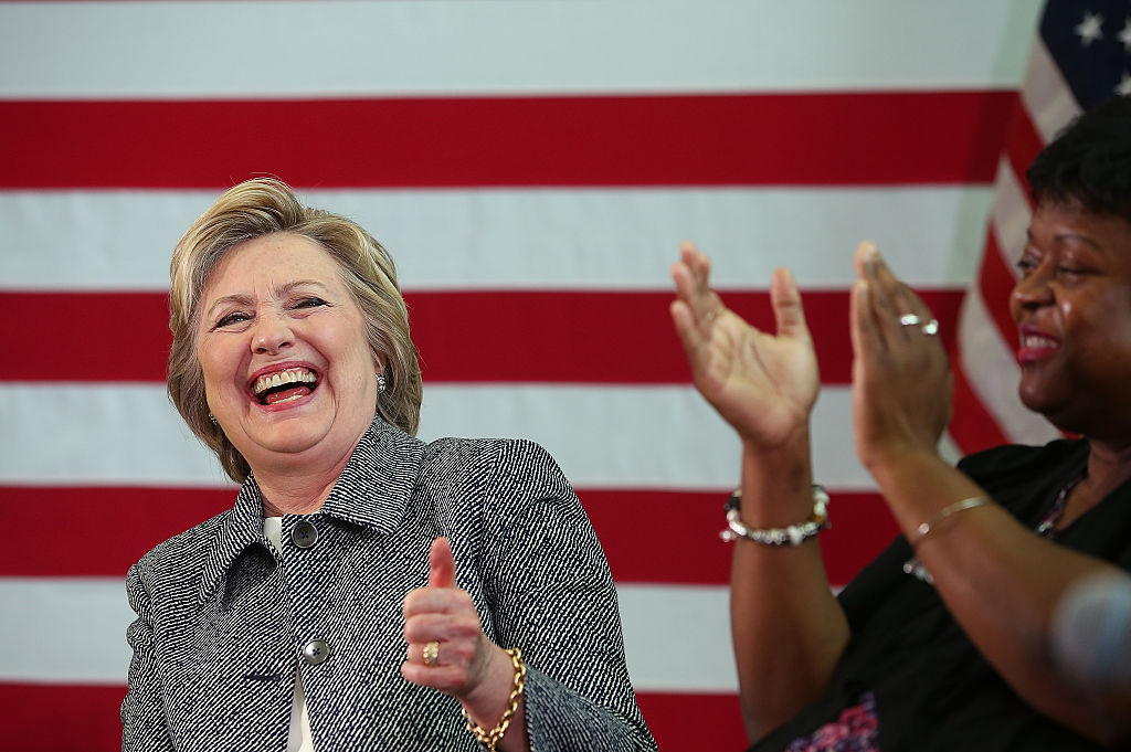 Hillary Clinton at a campaign stop in Connecticut (Getty Images)