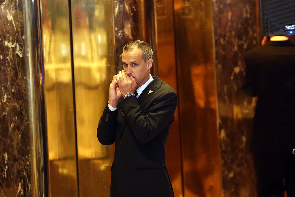 Former Donald Trump campaign manager Corey Lewandowski speaks on the phone in New York (Getty Images)