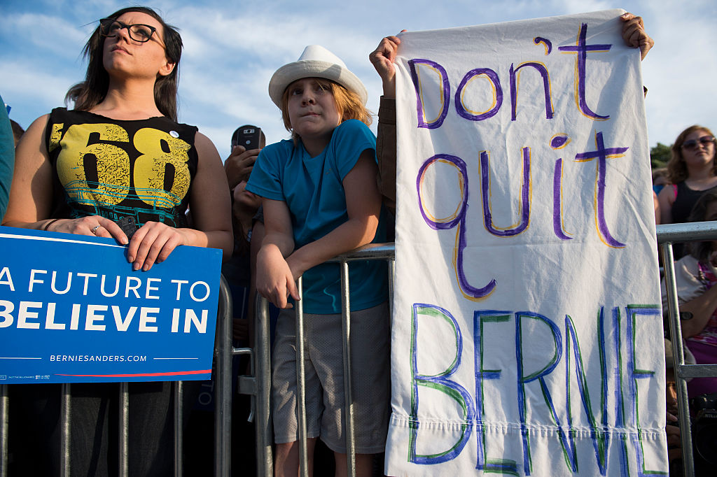 Sanders supporters attend a rally in DC (Getty Images)