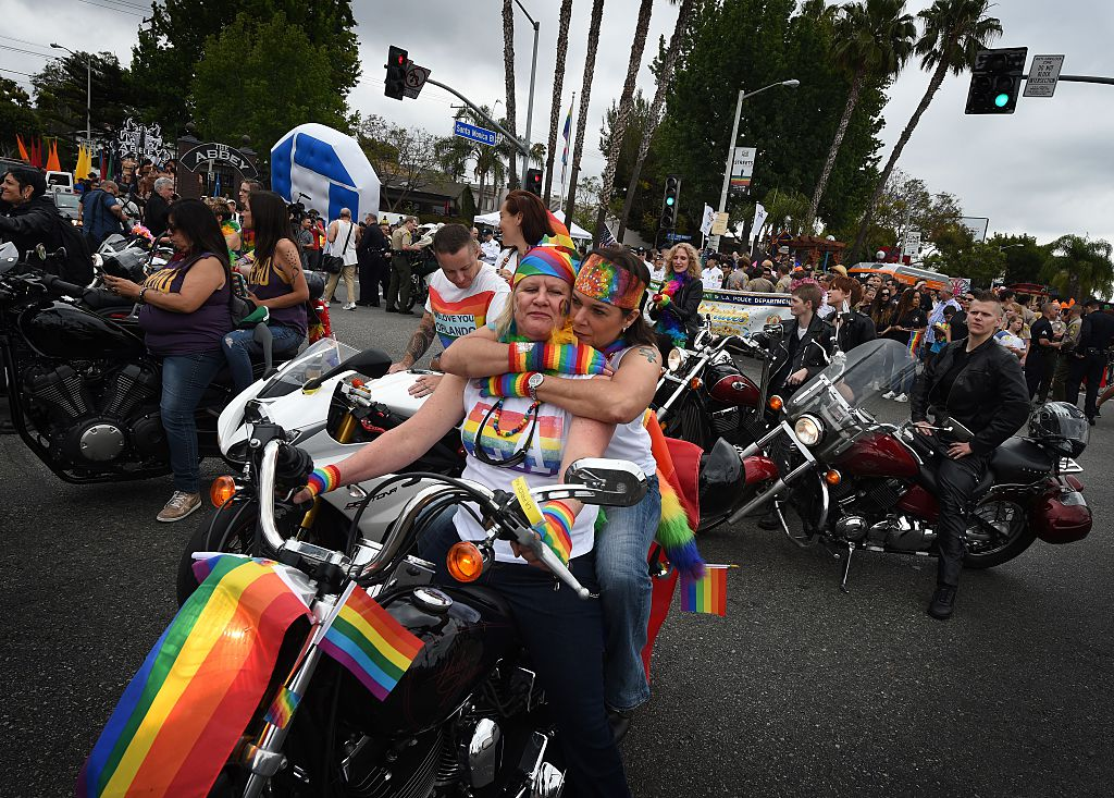 Participants take part in the 2016 Gay Pride Parade in West Hollywood, California on June 12, 2016. (Getty Images)