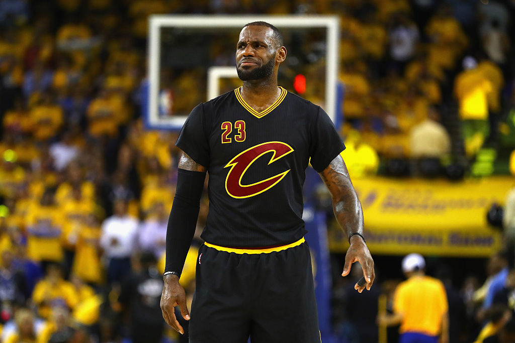 LeBron James reacts during the first half of Game 5 of the 2016 NBA Finals (Getty Images)