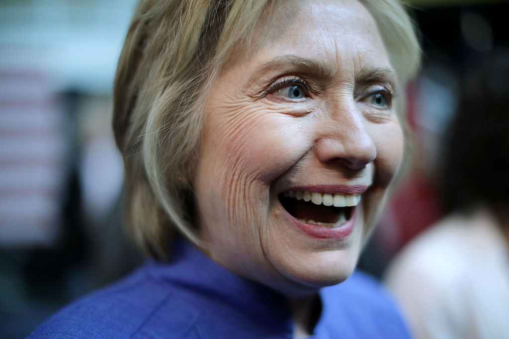 Democratic presidential candidate Hillary Clinton talks with supporters after participating in a round table conversation on national security at the Virginia Air and Space Center June 15, 2016 in Hampton, Virginia. (Getty Images)