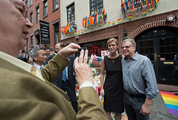 US Ambassador to the United Nations Samantha Power takes a photo with Stonewall Inn co-owner Kurt Kelly (Getty Images)