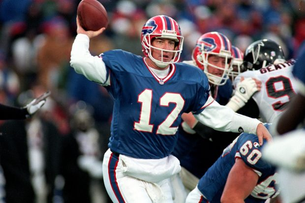 12 Nov 1995: Jim Kelly #12 of the Buffalo Bills gets ready to pass the ball during the game against the Atlanta Falcons at the Rich Stadium in Orchard Park, New York. The Bills defeated the Falcons 23-17. (Credit: Getty Images)