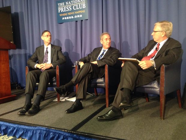 Senior Economist at the RAND Corporation (left) and U.S. Trade Representative (middle) talk about the America's national economic stability at The National Press Club on Monday. RAND Corporation's Vice President Charles Rice (right) moderated the event.