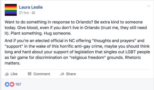 Laura Leslie, Screen Grab Facebook 1