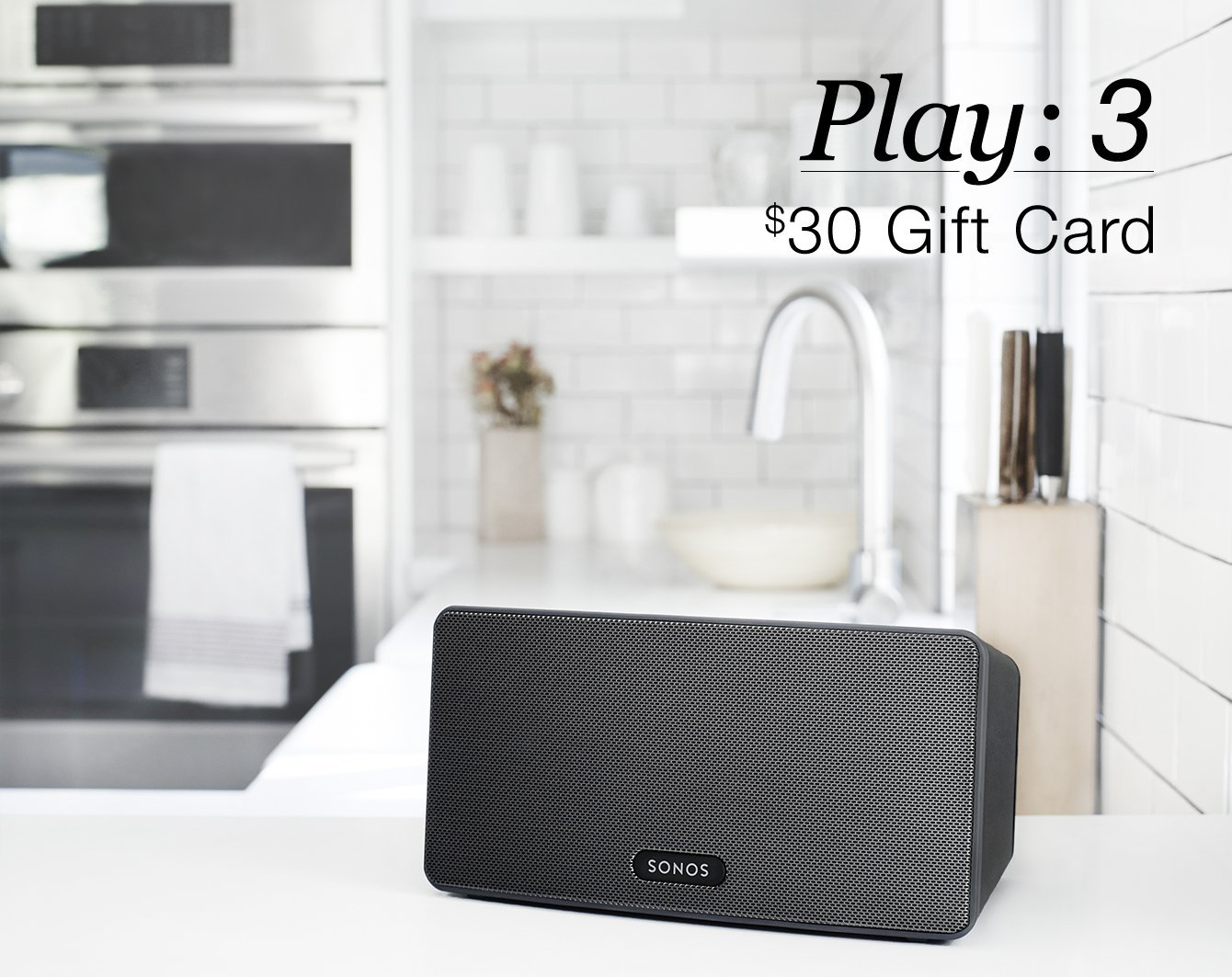 If you buy a $299 SONOS Play: 3, you can get a $20 gift card to Sonos, Best Buy or Amazon (Photo via Amazon)