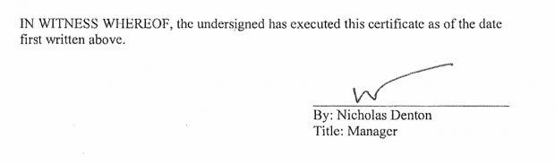 Nick Denton's signature on bankruptcy petition