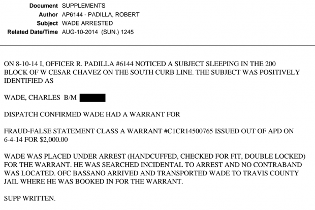 Arrest report for Charles Wade