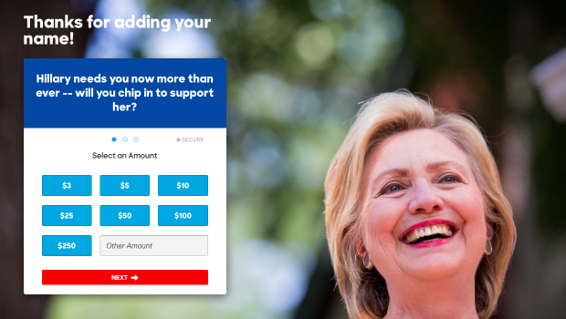 Screen capture from HillaryClinton.com
