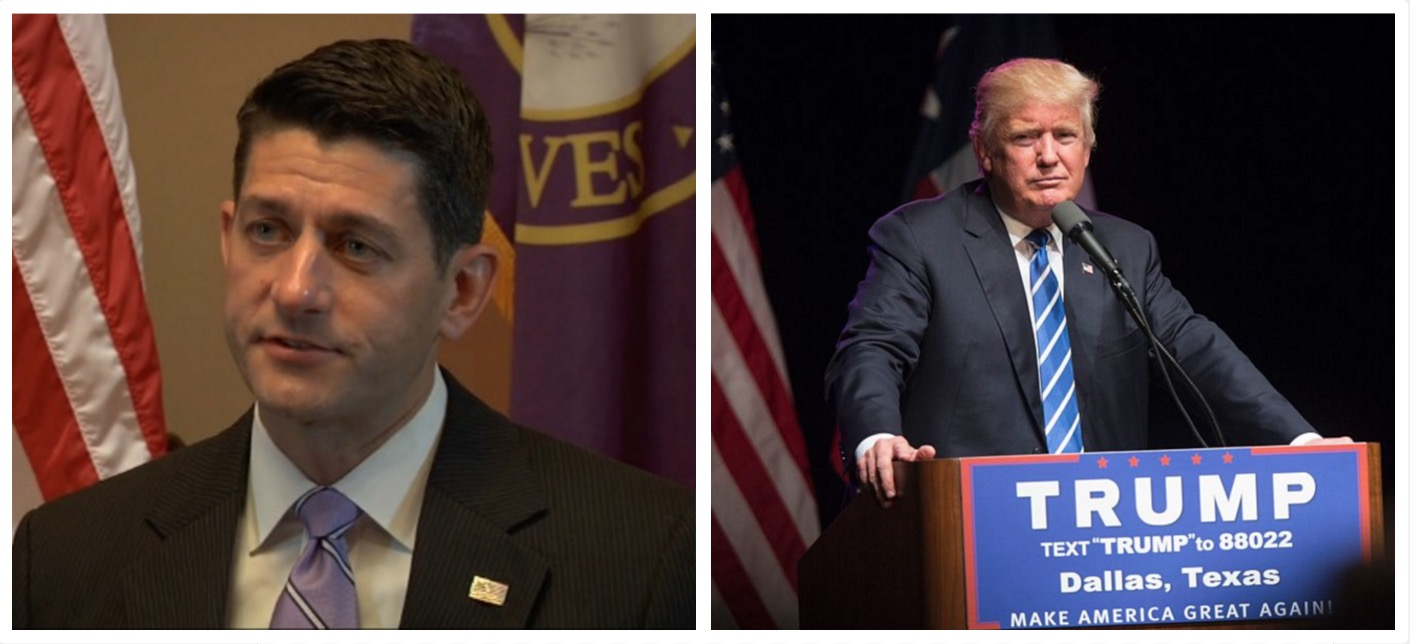 Paul Ryan claims he will sue Donald Trump if he institutes a ban on Muslim immigration (Huffington Post/Getty Images)