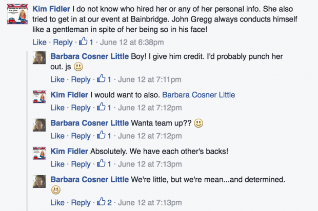 Comment's from Kim Fidler's Facebook account