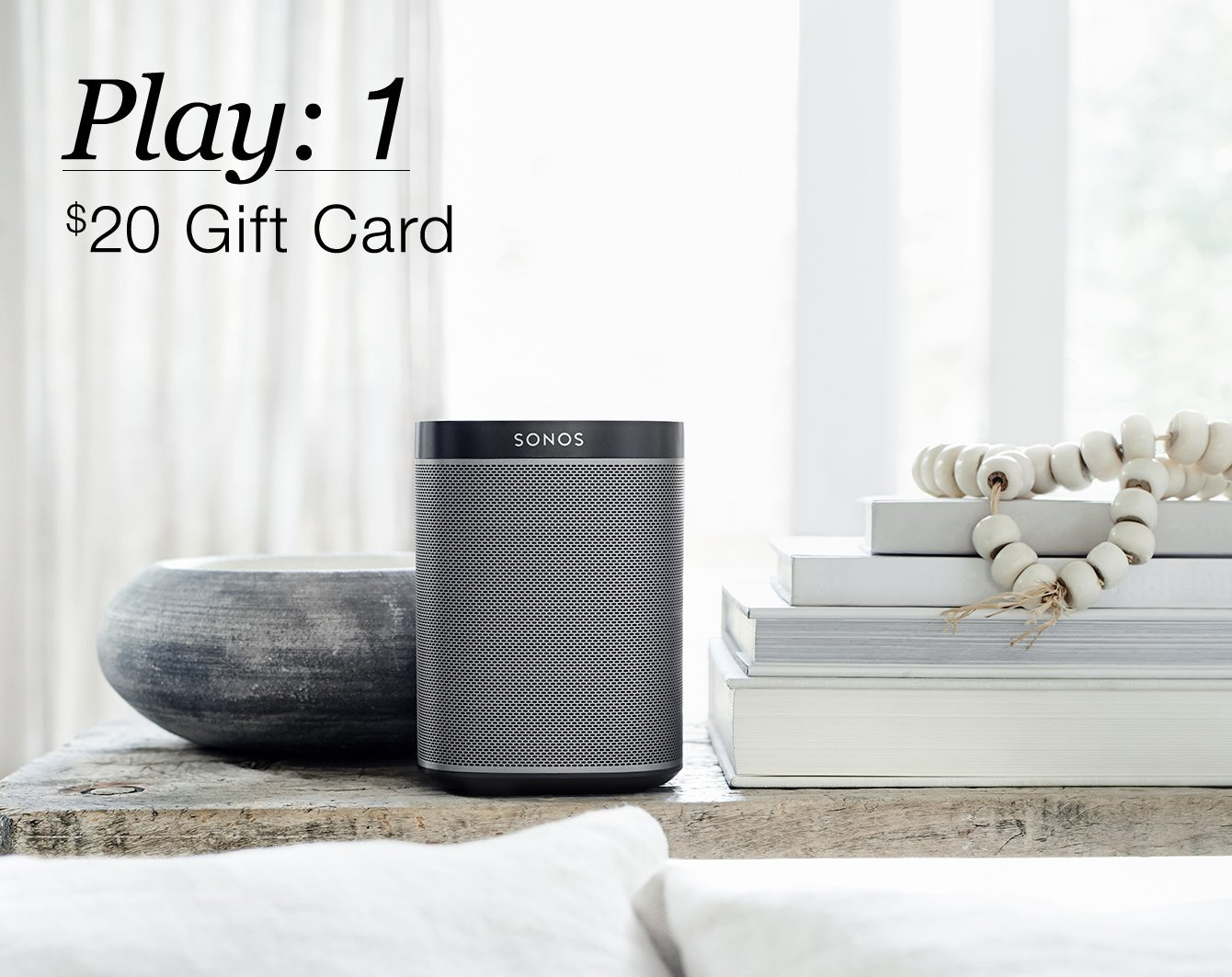 If you buy a $199 SONOS Play: 1, you can get a $20 gift card to Sonos, Best Buy or Amazon (Photo via Amazon)