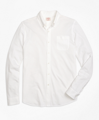 This white knit shirt is 40 percent off (Photo via Brooks Brothers)