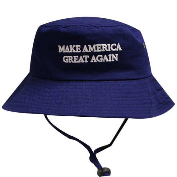 The MAGA bucket hat is available in blue (Photo via Amazon)