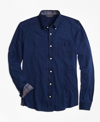 This Indigo Knit shirt is 40 percent off for the start of summer (Photo via Brooks Brothers)